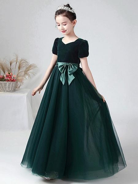 Ball Gown Floor Length Wedding / Party Flower Girl Dresses - Tulle / Velvet Short Sleeve Bateau Neck With Bow(S)_1