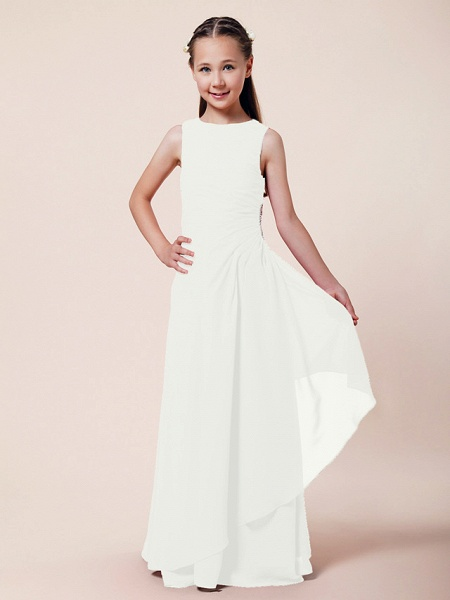 A-Line / Sheath / Column Bateau Neck Floor Length Chiffon Junior Bridesmaid Dress With Beading / Side Draping / Spring / Summer / Fall / Winter / Wedding Party_16