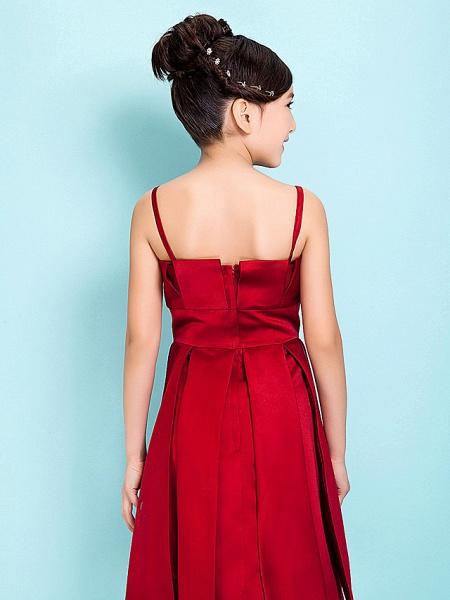 Princess / A-Line Spaghetti Strap Knee Length Satin Junior Bridesmaid Dress With Sash / Ribbon / Draping / Spring / Summer / Fall / Hourglass / Inverted Triangle_6