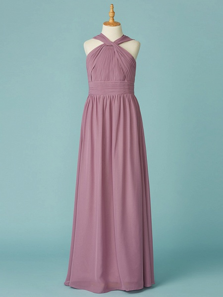 A-Line V Neck Floor Length Chiffon Junior Bridesmaid Dress With Ruffles_1