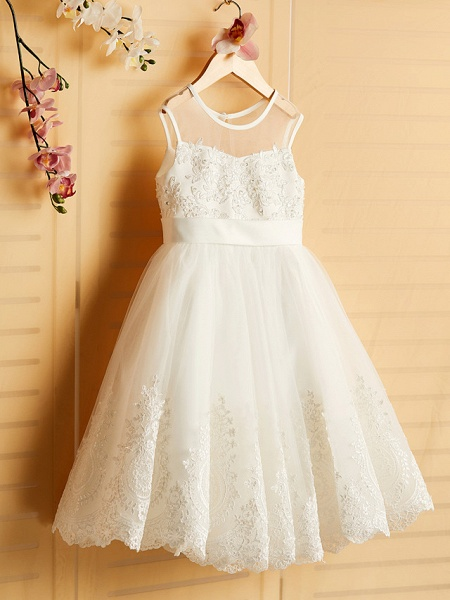 Princess Tea Length Wedding / Birthday / Pageant Flower Girl Dresses - Satin / Tulle Sleeveless Jewel Neck With Bows / Belt / Beading_3