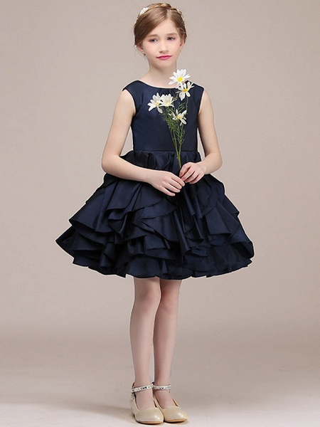 A-Line Round Short / Mini Satin Junior Bridesmaid Dress With Tier / Cascading Ruffles_3
