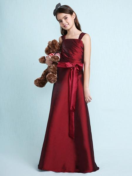 Princess / A-Line Straps Floor Length Taffeta Junior Bridesmaid Dress With Sash / Ribbon / Bow(S) / Ruched / Spring / Fall / Winter / Wedding Party / Natural_8
