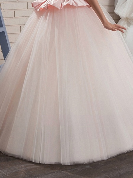 Ball Gown Court Train / Sweep / Brush Train Party / Birthday Flower Girl Dresses - Poly Sleeveless Jewel Neck With Lace / Ruffles / Tier_3