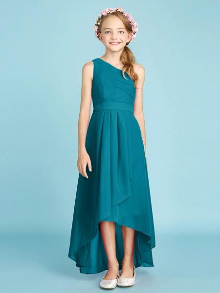 A-Line One Shoulder Asymmetrical Chiffon Junior Bridesmaid Dress With Sash / Ribbon / Bow(S) / Side Draping / Natural_30