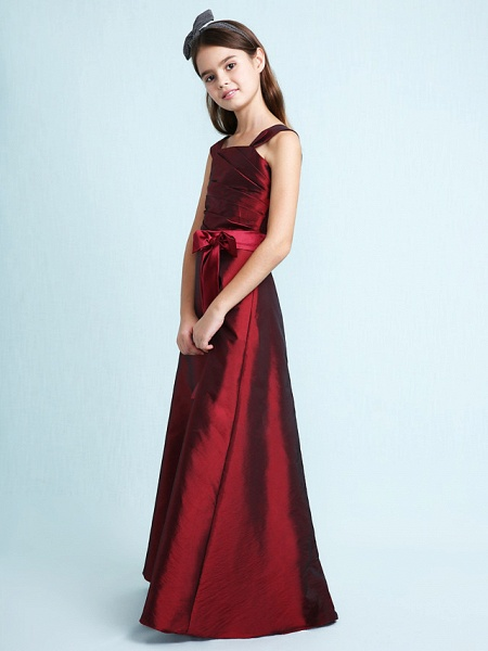 Princess / A-Line Straps Floor Length Taffeta Junior Bridesmaid Dress With Sash / Ribbon / Bow(S) / Ruched / Spring / Fall / Winter / Wedding Party / Natural_7