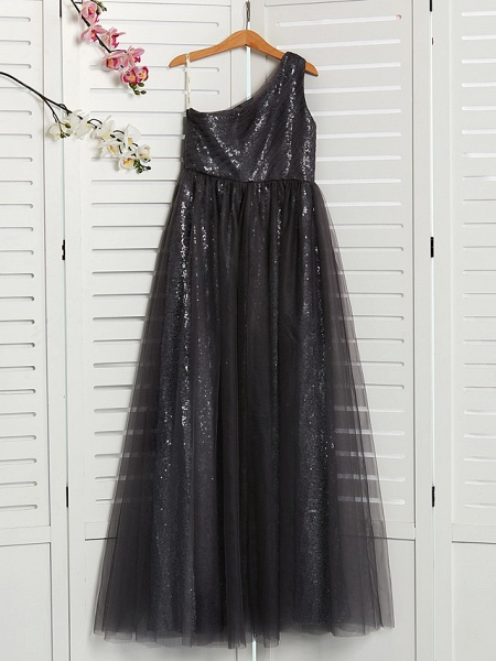 A-Line One Shoulder Maxi Tulle Junior Bridesmaid Dress With Beading_2