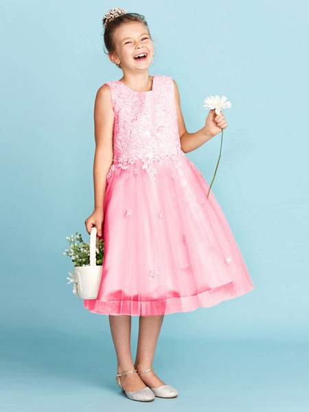 Princess / A-Line Jewel Neck Knee Length Lace / Tulle Junior Bridesmaid Dress With Bow(S) / Appliques / Wedding Party_25