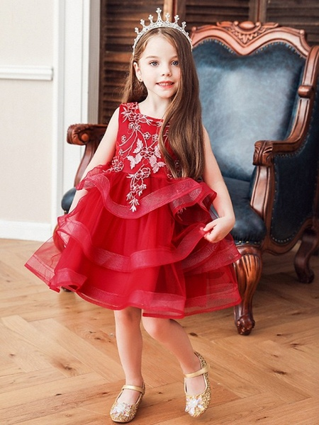 Princess / Ball Gown Knee Length Wedding / Party Flower Girl Dresses - Satin / Tulle Sleeveless Jewel Neck With Bow(S) / Beading / Tier_3