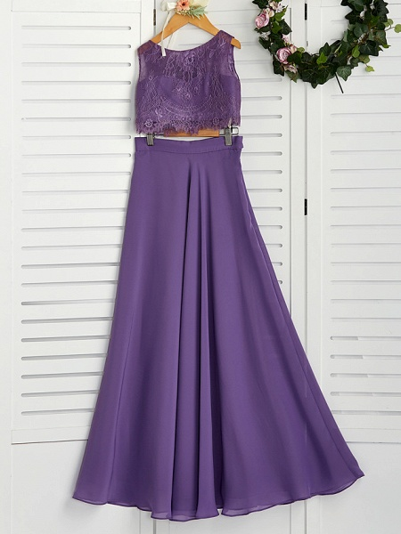 Two Piece / A-Line Crew Neck Maxi Chiffon / Lace Junior Bridesmaid Dress With Lace / Pleats_1