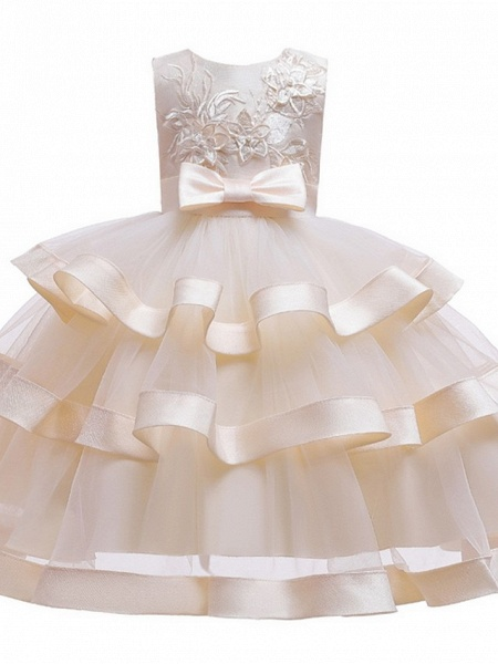 Princess / Ball Gown Knee Length Wedding / Party Flower Girl Dresses - Tulle Sleeveless Jewel Neck With Sash / Ribbon / Bow(S) / Tier_6