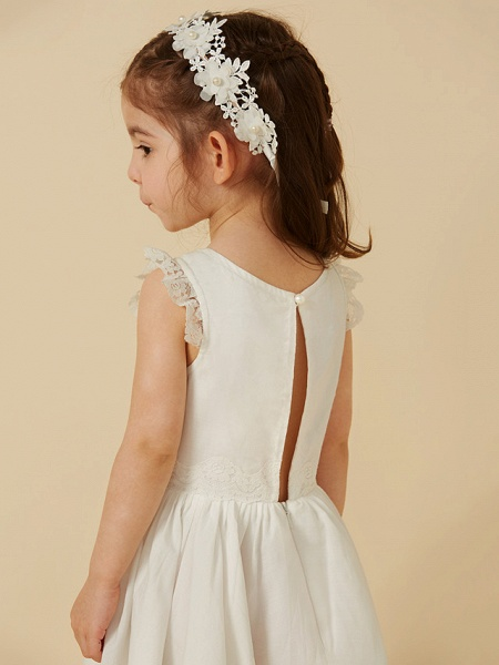 Princess Knee Length Wedding / First Communion Flower Girl Dresses - Lace / Cotton Sleeveless Scoop Neck With Pleats_7