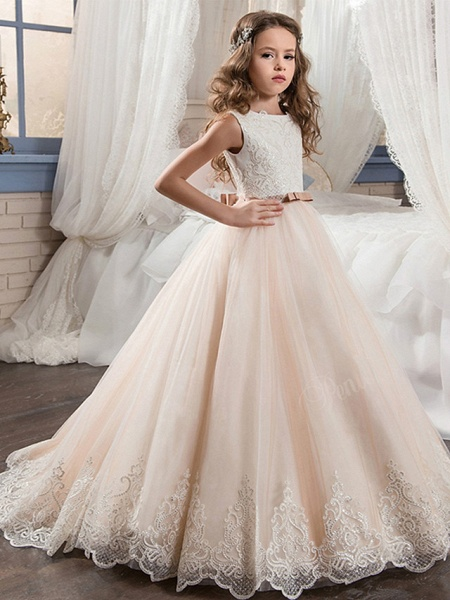 Ball Gown Maxi Wedding / Birthday / Pageant Flower Girl Dresses - Cotton / Nylon With A Hint Of Stretch / Chiffon / Tulle Sleeveless Jewel Neck With Bows / Lace / Embroidery_1