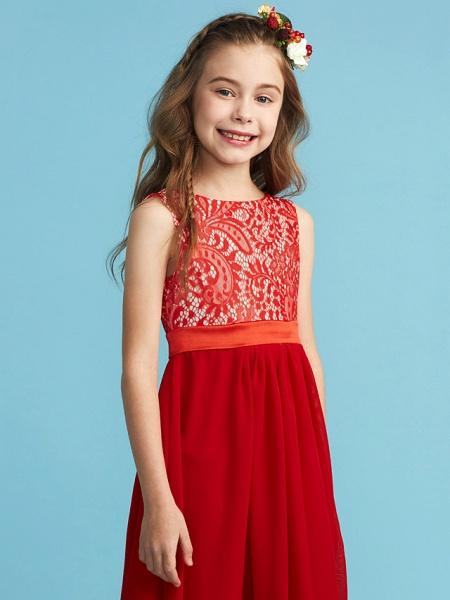 Sheath / Column Jewel Neck Floor Length Chiffon / Lace Junior Bridesmaid Dress With Sash / Ribbon / Appliques_5