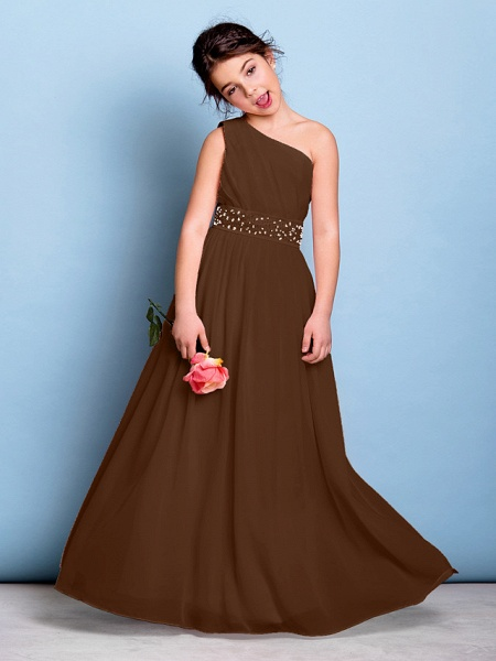 A-Line One Shoulder Floor Length Chiffon Junior Bridesmaid Dress With Sash / Ribbon / Beading / Side Draping / Natural_23