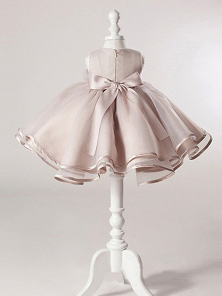 Ball Gown Knee Length Pageant Flower Girl Dresses - Polyester Sleeveless Jewel Neck With Bow(S)_3