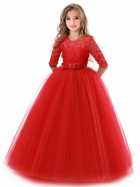 Princess Long Length Wedding / Party / Pageant Flower Girl Dresses - Lace / Tulle Half Sleeve Jewel Neck With Lace / Belt_2