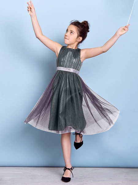 A-Line Jewel Neck Knee Length Tulle Junior Bridesmaid Dress With Sash / Ribbon / Sequin / Draping / Natural_48