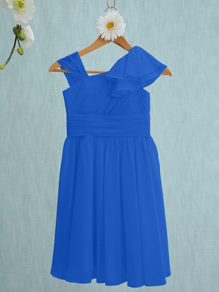 Sheath / Column Straps Knee Length Chiffon Junior Bridesmaid Dress With Ruffles / Side Draping / Natural_32