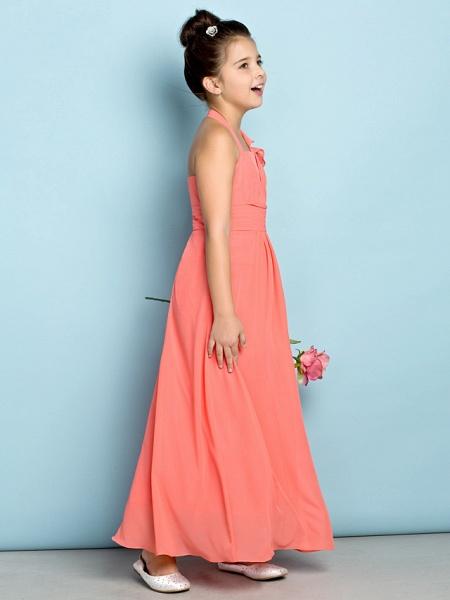 Sheath / Column Halter Neck Ankle Length Chiffon Junior Bridesmaid Dress With Side Draping / Natural / Mini Me_3