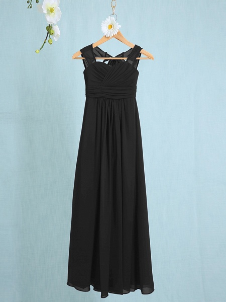 Sheath / Column Straps Ankle Length Chiffon Junior Bridesmaid Dress With Ruched / Natural_36
