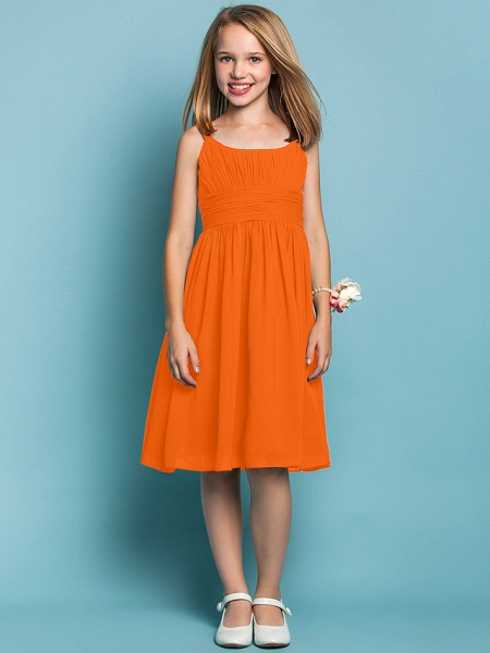 Sheath / Column Straps Knee Length Chiffon Junior Bridesmaid Dress With Ruched / Draping / Spring / Summer / Fall / Apple / Hourglass_15