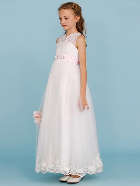 Princess / A-Line Crew Neck Ankle Length Lace Over Tulle Junior Bridesmaid Dress With Sash / Ribbon / Beading / Appliques / Wedding Party / Open Back_3