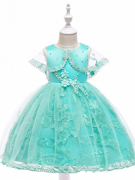 Princess Medium Length Wedding / First Communion Flower Girl Dresses - Lace / Tulle / Mikado Sleeveless Jewel Neck With Pearls / Appliques / Bandage_7