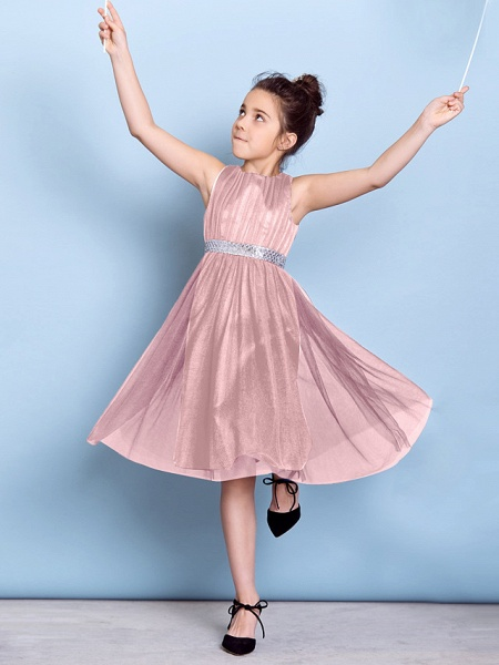 A-Line Jewel Neck Knee Length Tulle Junior Bridesmaid Dress With Sash / Ribbon / Sequin / Draping / Natural_20