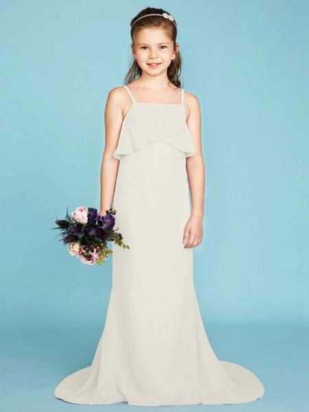 Sheath / Column Spaghetti Strap Sweep / Brush Train Chiffon Junior Bridesmaid Dress With Tiered / Wedding Party / Open Back_42