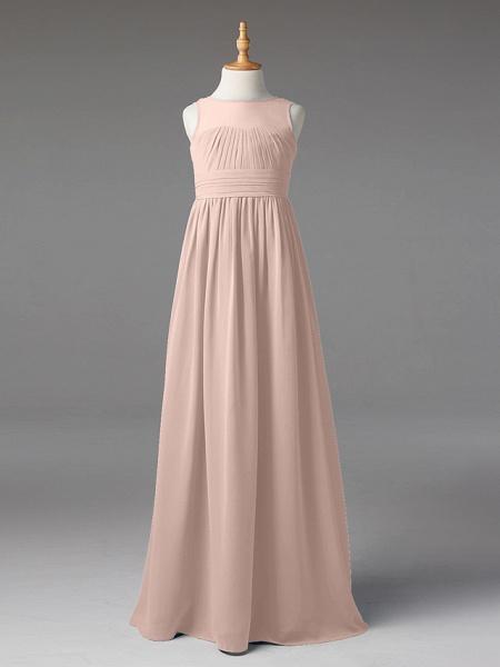 Princess / A-Line Jewel Neck Floor Length Chiffon Junior Bridesmaid Dress With Sash / Ribbon / Pleats_15