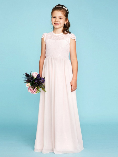 Princess / A-Line Crew Neck Floor Length Chiffon / Lace Junior Bridesmaid Dress With Buttons / Pleats / Wedding Party / See Through_1