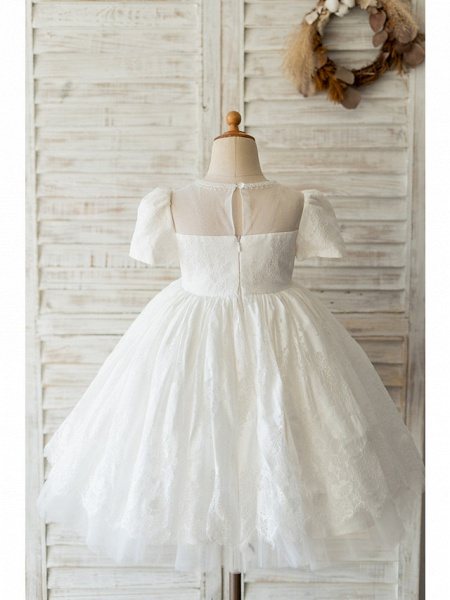 Ball Gown Knee Length Wedding / Birthday Flower Girl Dresses - Lace Short Sleeve Jewel Neck With Beading_2