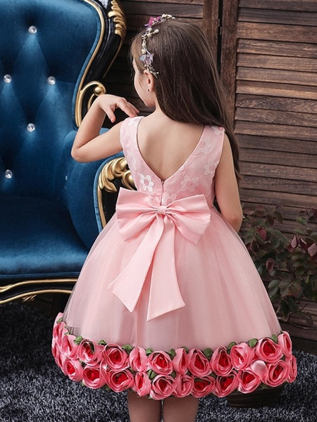 Princess / Ball Gown Knee Length Wedding / Party Flower Girl Dresses - Tulle Sleeveless Jewel Neck With Bow(S) / Pattern / Print / Flower_4
