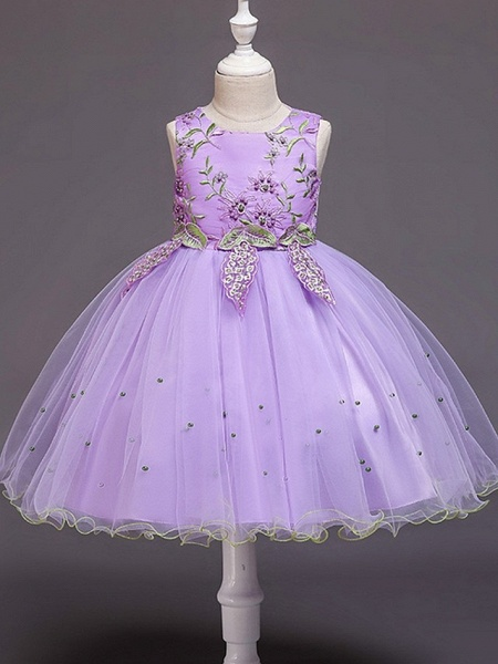 Ball Gown Knee Length Wedding / Party Flower Girl Dresses - Tulle Sleeveless Jewel Neck With Bow(S) / Beading / Appliques_5