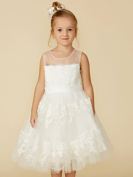 A-Line Tea Length Wedding / First Communion Flower Girl Dresses - Lace Sleeveless Jewel Neck With Lace / Sash / Ribbon_7