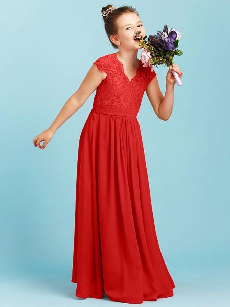 Princess / A-Line V Neck Floor Length Chiffon / Lace Junior Bridesmaid Dress With Sash / Ribbon / Pleats / Wedding Party_27