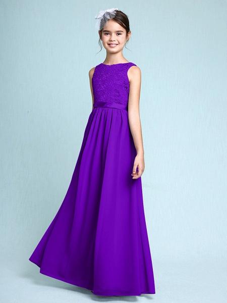 Sheath / Column Bateau Neck Floor Length Chiffon / Lace Junior Bridesmaid Dress With Lace / Natural_37