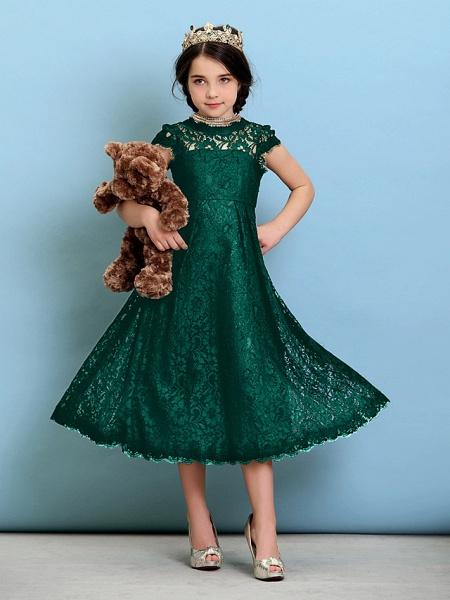 Princess / A-Line Jewel Neck Tea Length Lace Junior Bridesmaid Dress With Pleats / Natural_27