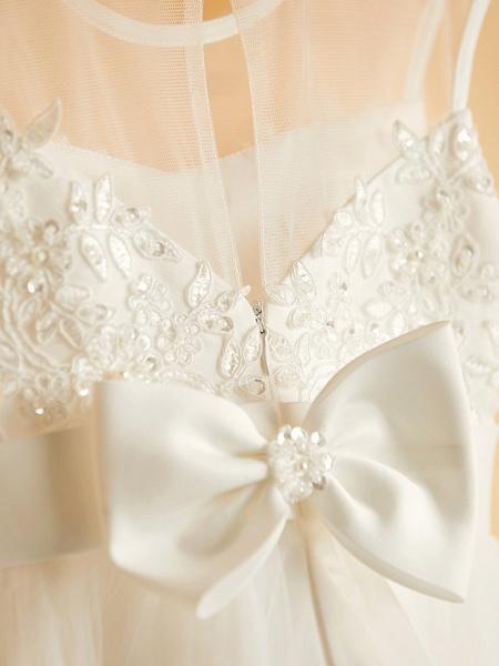 Princess Tea Length Wedding / Birthday / Pageant Flower Girl Dresses - Satin / Tulle Sleeveless Jewel Neck With Bows / Belt / Beading_8