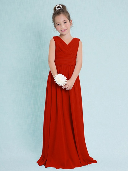 Sheath / Column V Neck Floor Length Chiffon Junior Bridesmaid Dress With Criss Cross / Ruched / Natural_13