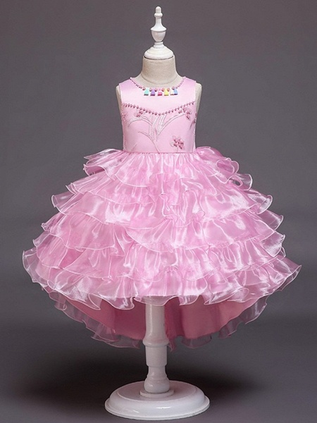 Princess / Ball Gown Knee Length Wedding / Party Flower Girl Dresses - Satin / Tulle Sleeveless Jewel Neck With Bow(S) / Beading / Cascading Ruffles_8