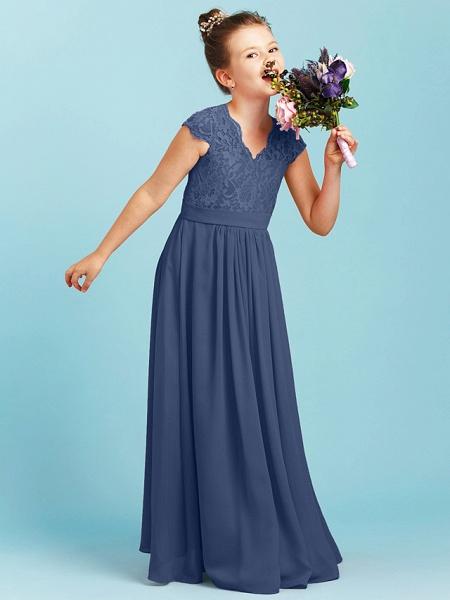 Princess / A-Line V Neck Floor Length Chiffon / Lace Junior Bridesmaid Dress With Sash / Ribbon / Pleats / Wedding Party_8