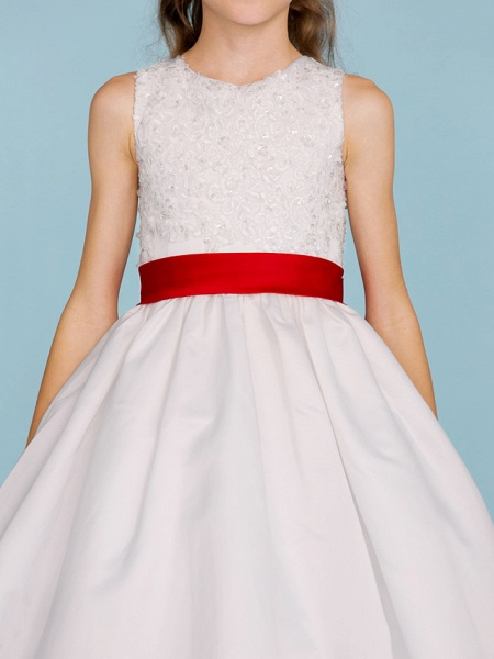 Ball Gown Crew Neck Ankle Length Lace / Satin Junior Bridesmaid Dress With Sash / Ribbon / Bow(S) / Beading / Color Block / Wedding Party_8