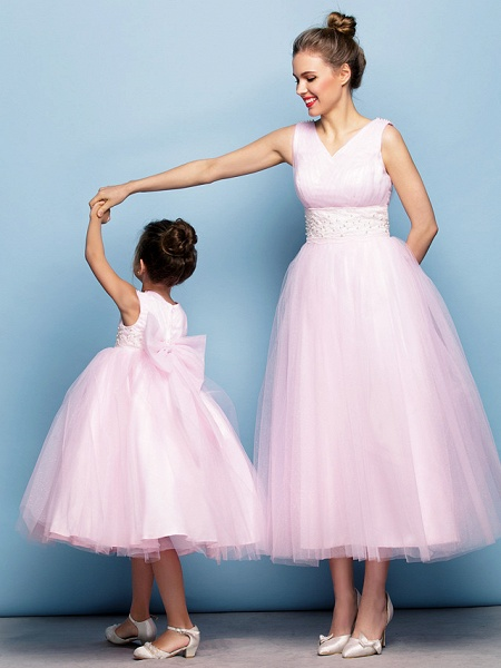 Ball Gown Tea Length Party / Holiday / Cocktail Party Flower Girl Dresses - Tulle Sleeveless V Neck With Criss Cross / Pearls / Beading / Formal Evening / Mini Me_3