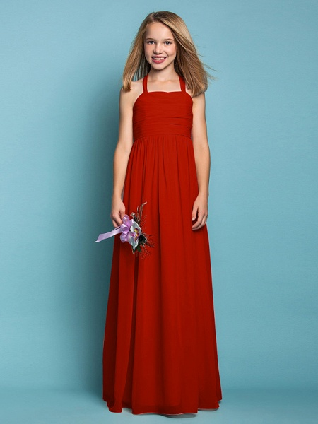 Sheath / Column Halter Neck Floor Length Chiffon Junior Bridesmaid Dress With Ruched / Spring / Summer / Fall / Apple / Hourglass_14