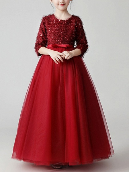 A-Line Floor Length Pageant Flower Girl Dresses - Tulle 3/4 Length Sleeve Jewel Neck With Feathers / Fur / Bow(S) / Paillette_2