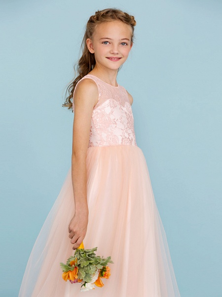 Princess / A-Line Crew Neck Floor Length Lace / Tulle Junior Bridesmaid Dress With Pleats / Wedding Party / See Through_5