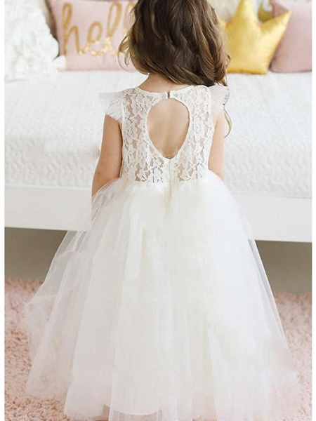 A-Line Floor Length Wedding / Party Flower Girl Dresses - Lace / Satin / Tulle Sleeveless Jewel Neck With Solid_2