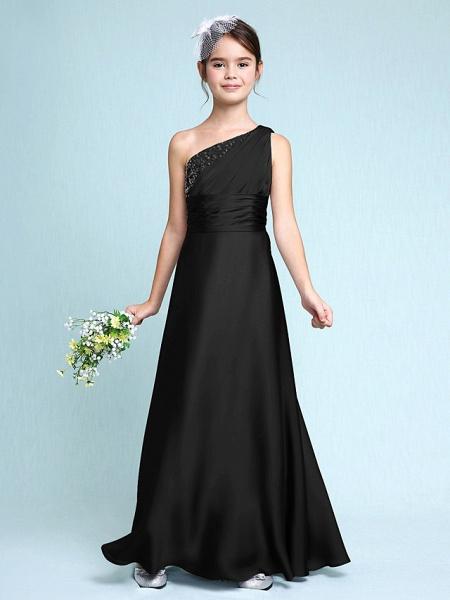 Sheath / Column One Shoulder Floor Length Chiffon Satin Junior Bridesmaid Dress With Ruched / Side Draping / Natural_40